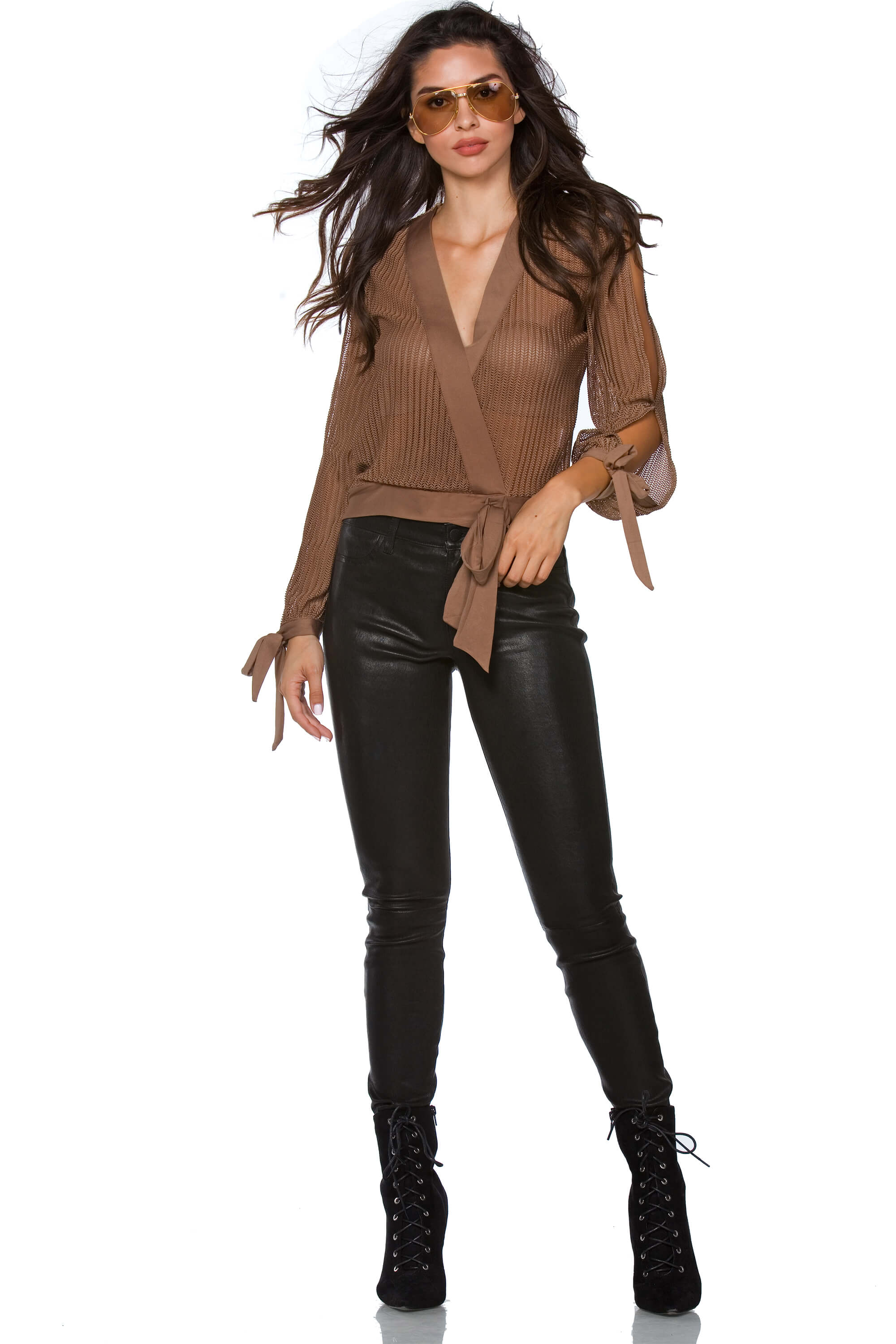 Carlie Slit Sleeve V-Neck Blouse for Women