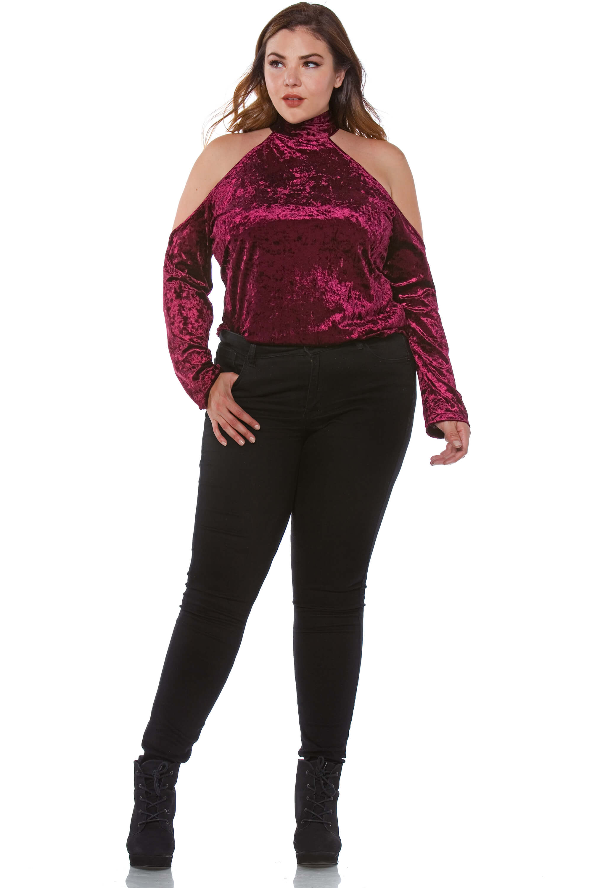 Nico Plus Size Sash Neck Velvet Top for Women