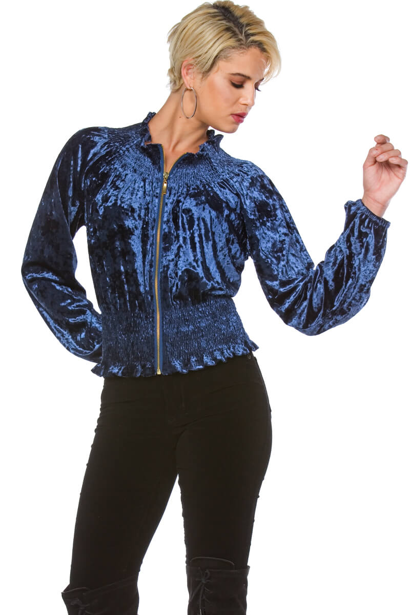 Luxe Crushed Velvet Jacket for Women
