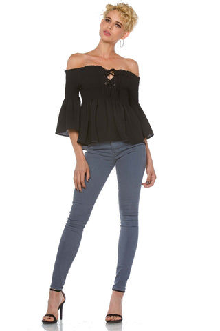 Kadison Off the Shoulder Crepe Smocked Lace Up Top for Women