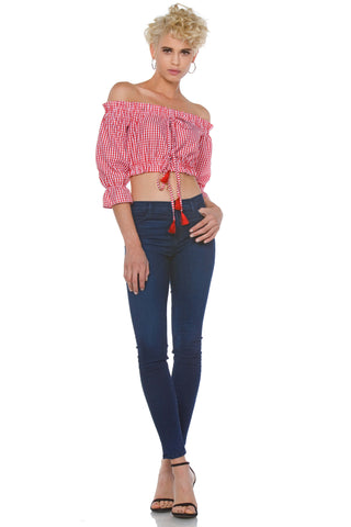 Inge Plus Size Off the Shoulder Lace Up Crop Top for Women