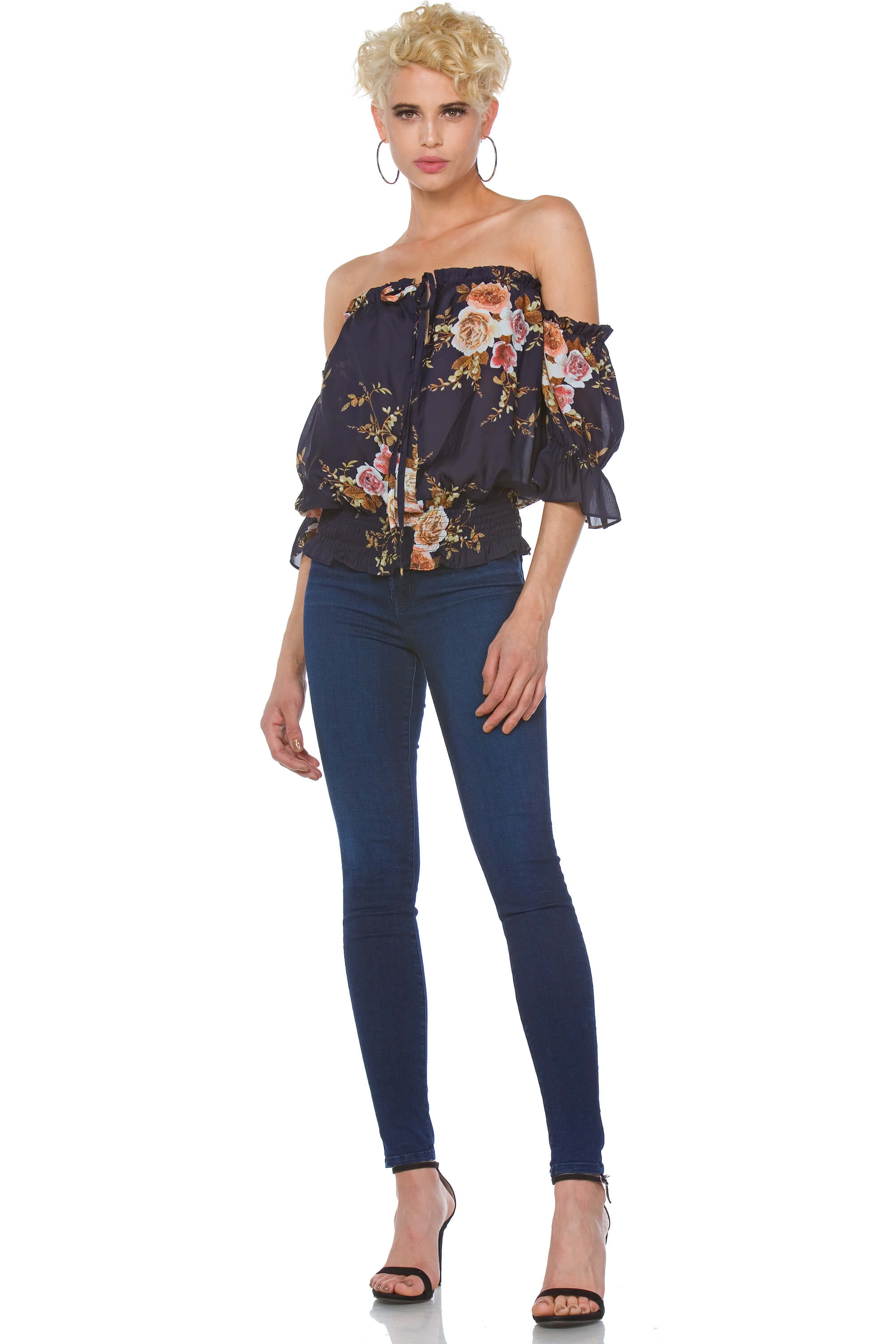 Sadie Satin Convertible Floral Top for Women
