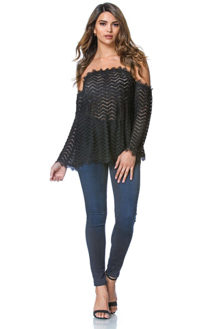 Adele off the Shoulder Lace Blouse in Black, tops - shoptoni.com