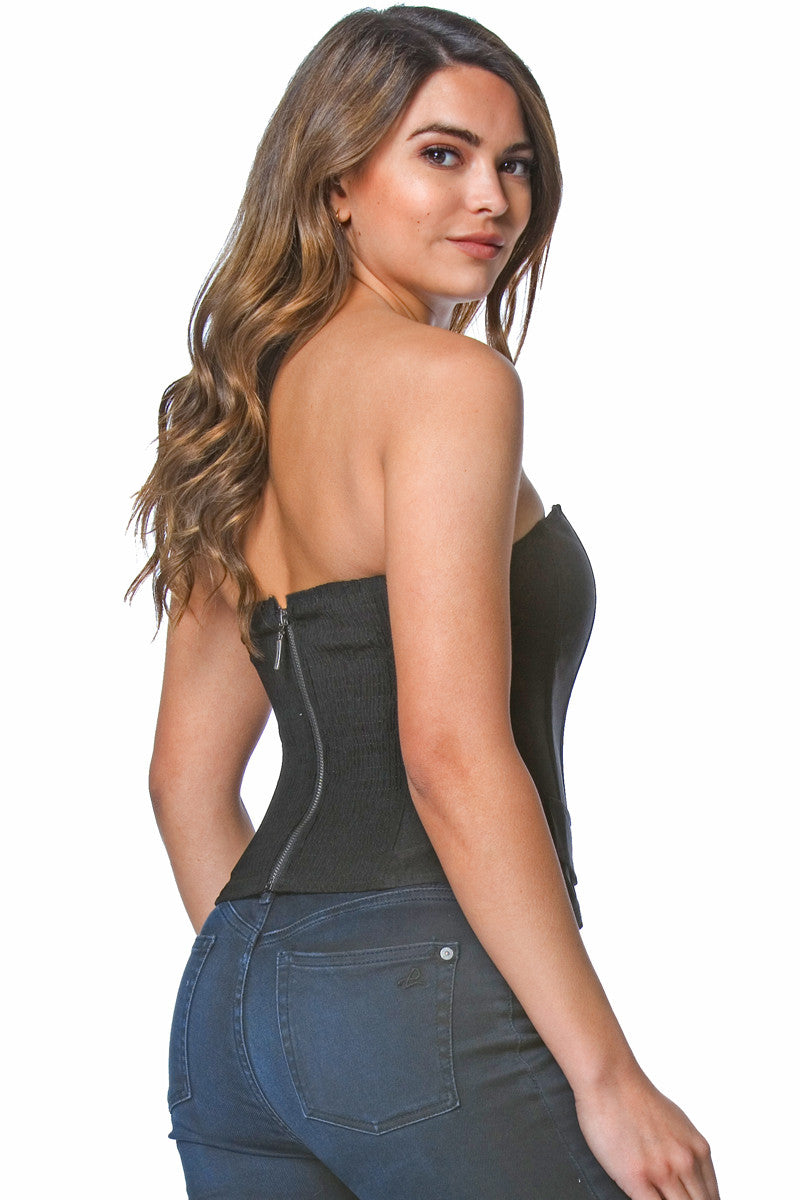 Barbara Tux Bustier in Black, tops - shoptoni.com