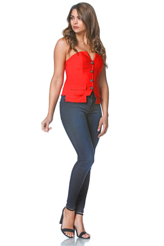 Barbara Tux Bustier in Red, tops - shoptoni.com