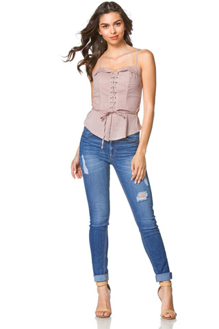 Sunny Embroidered Blouse with Ruffled Laced-up Sleeve for Women