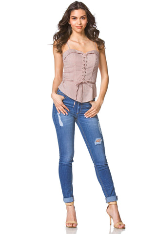 Cassidy Corset Top in Red, tops - shoptoni.com