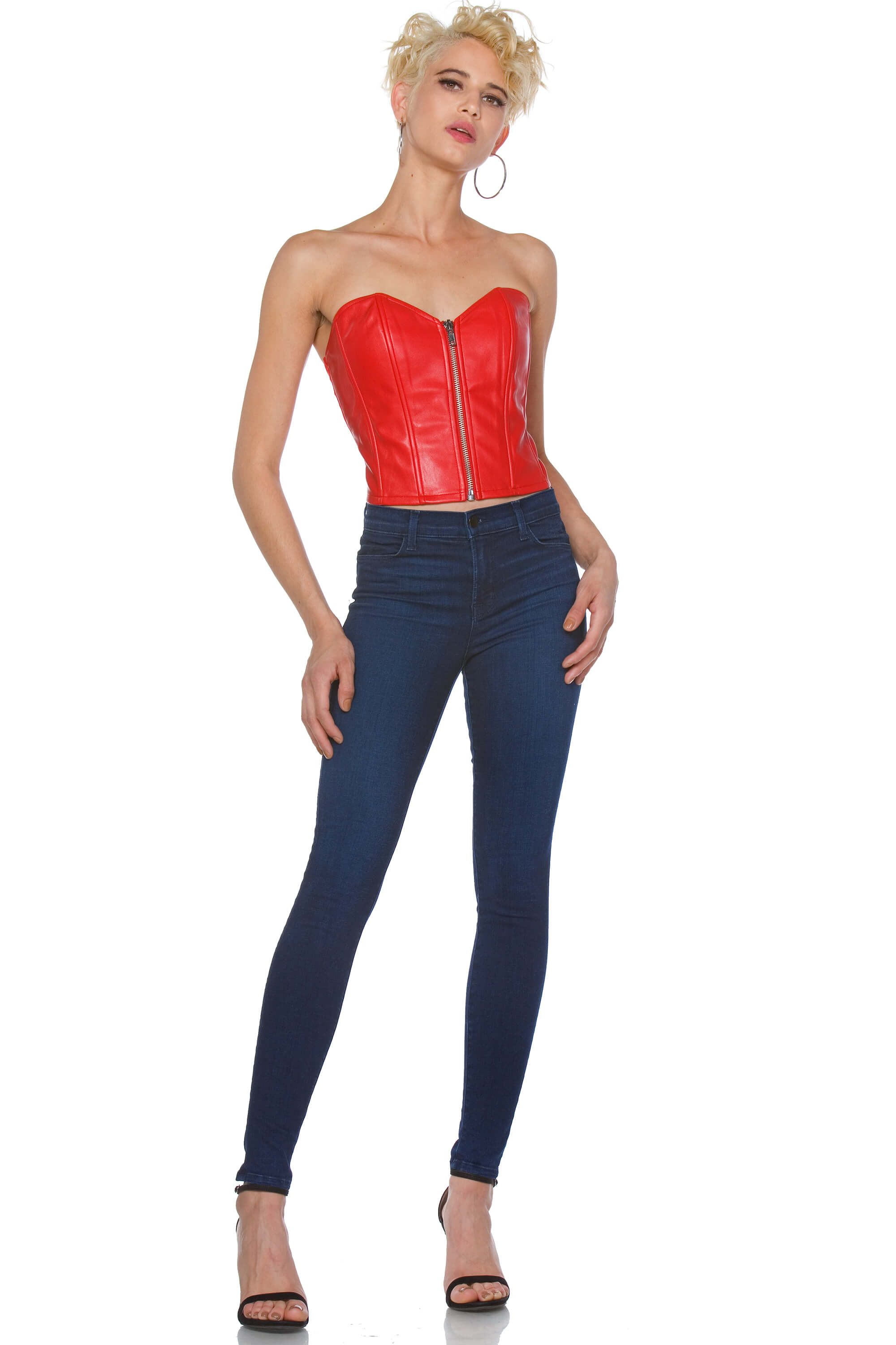 Rini Cropped Vegan Leather Bustier for Women