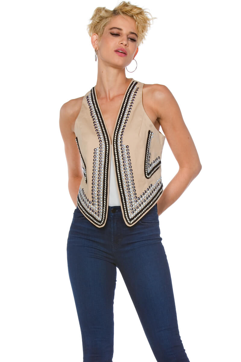 Blysse Plus Size Studded Embroidered Cotton Vest for Women