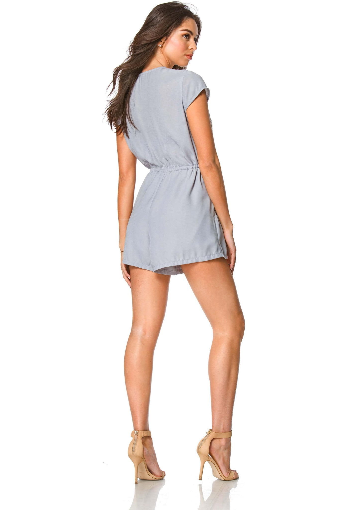 Ran Studded Kimono Romper in Heather, Dresses & Rompers - shoptoni.com