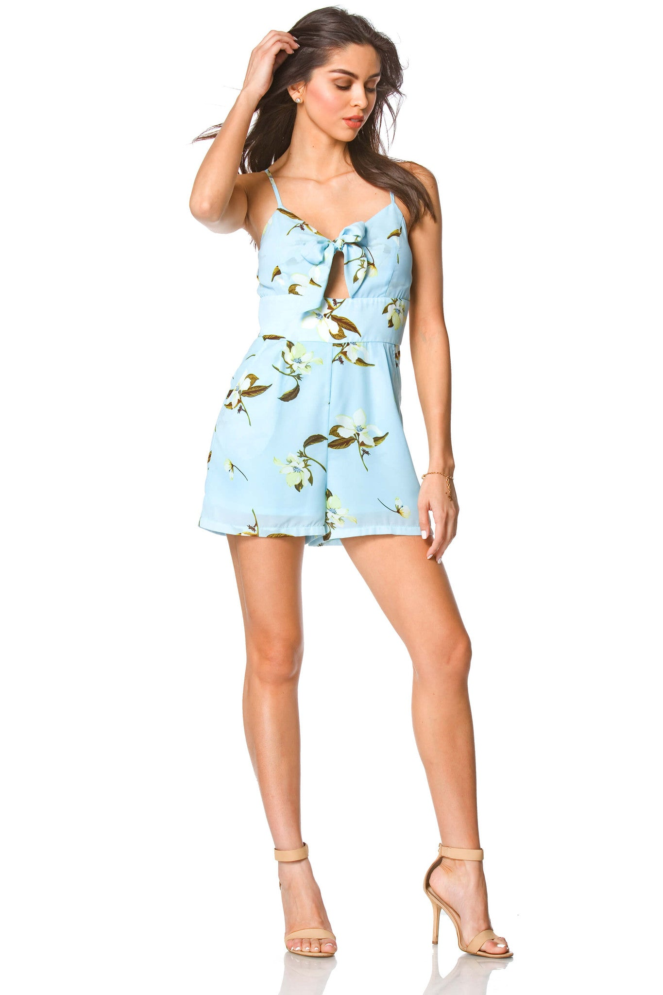 Carolina Floral Halter Romper in Ivory, Dresses & Rompers - shoptoni.com
