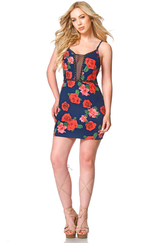 Deidra Studded Floral Mini Dress, Dresses & Rompers - shoptoni.com