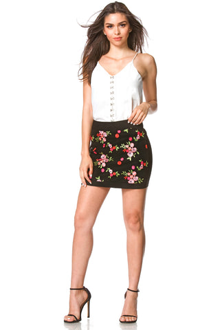 Anais Embroidered Mini Skirt, bottoms - shoptoni.com