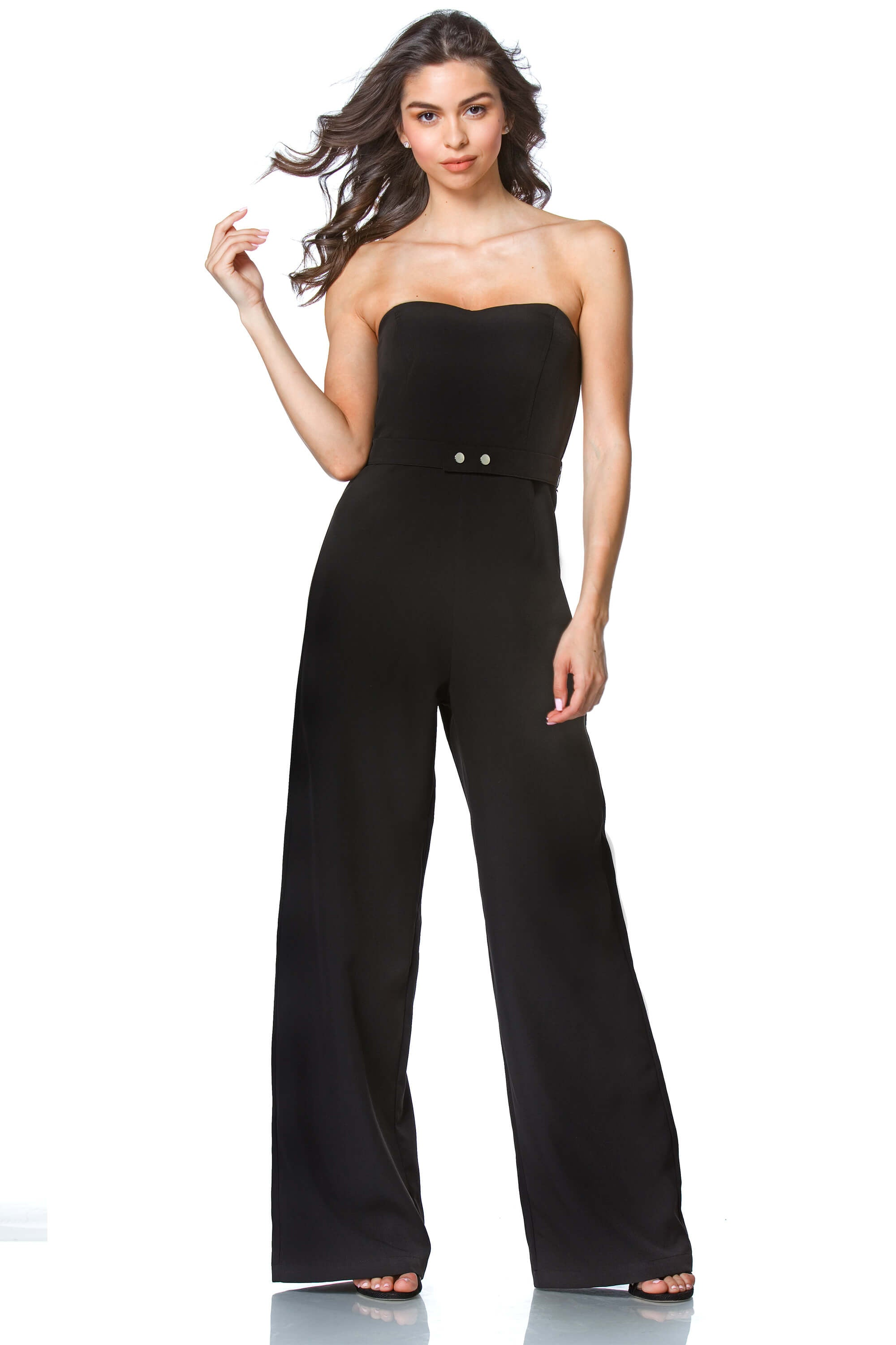 Bailey Corset Jumpsuit in Black, Dresses & Rompers - shoptoni.com