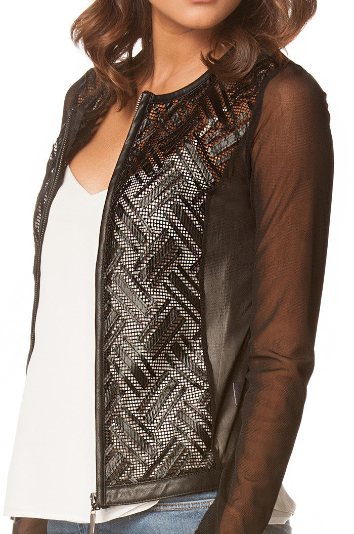 Lightweight Mesh Faux Leather Jacket In Black, Jackets & Vests - shoptoni.com