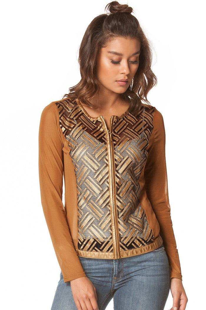 Lightweight Mesh Faux Leather Jacket In Gold, Jackets & Vests - shoptoni.com