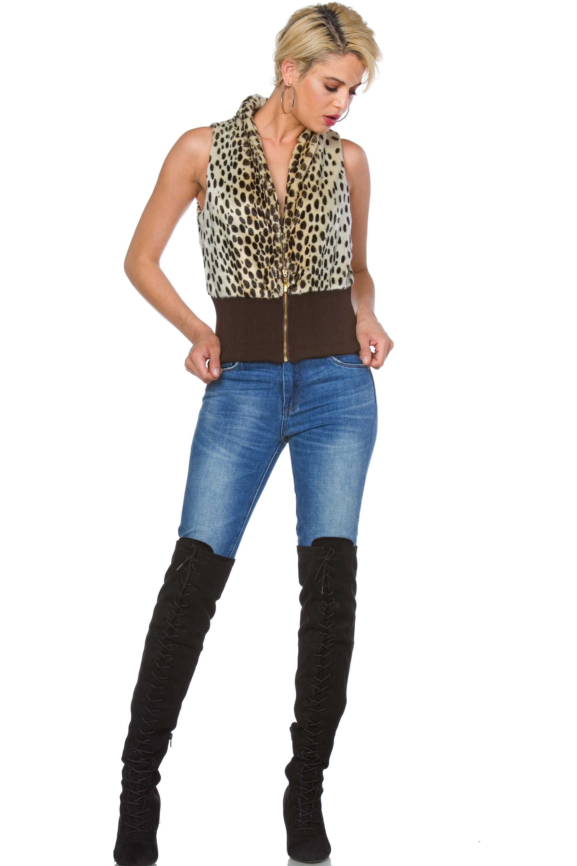 Alice Animal Print Faux Fur Vest for Women