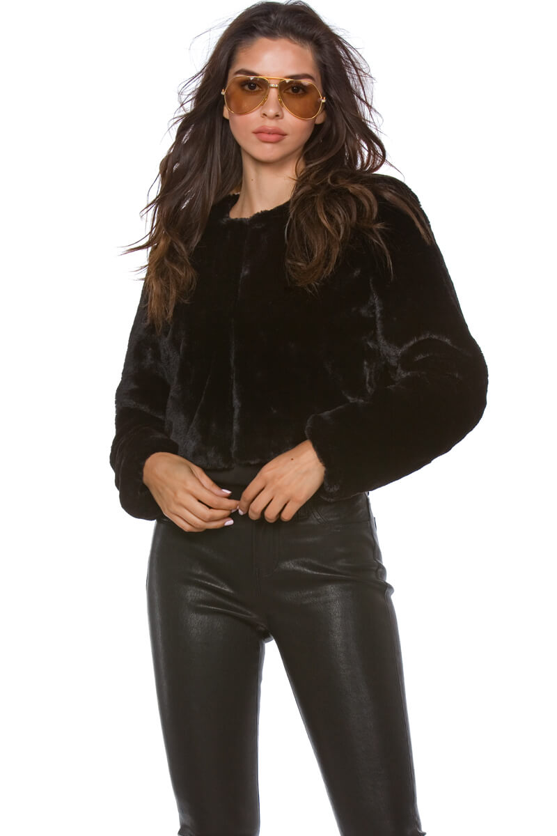 Tiffani Cropped Faux Fur Jacket for Women