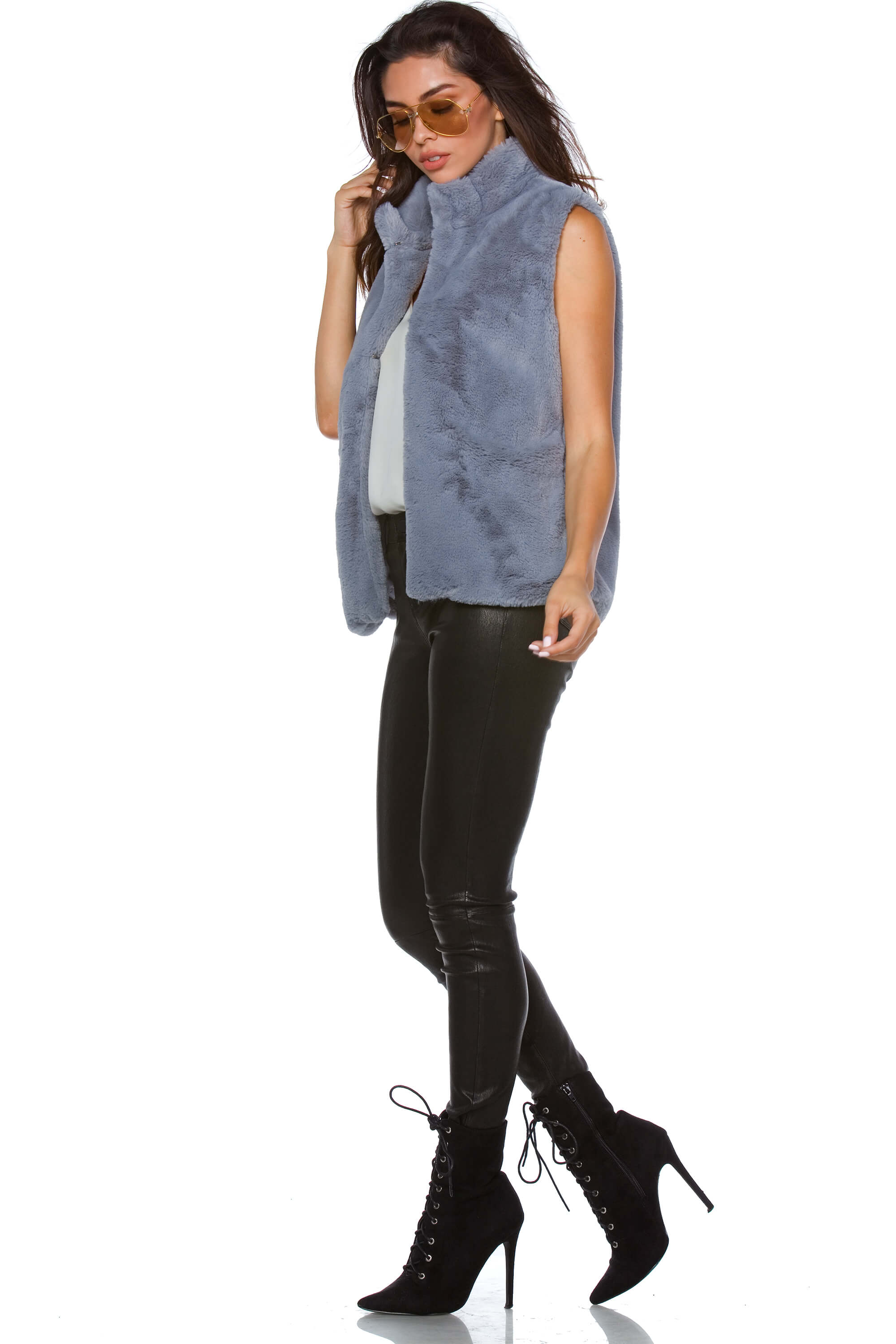 Tessa Sleeveless Faux Fur Jacket for Women