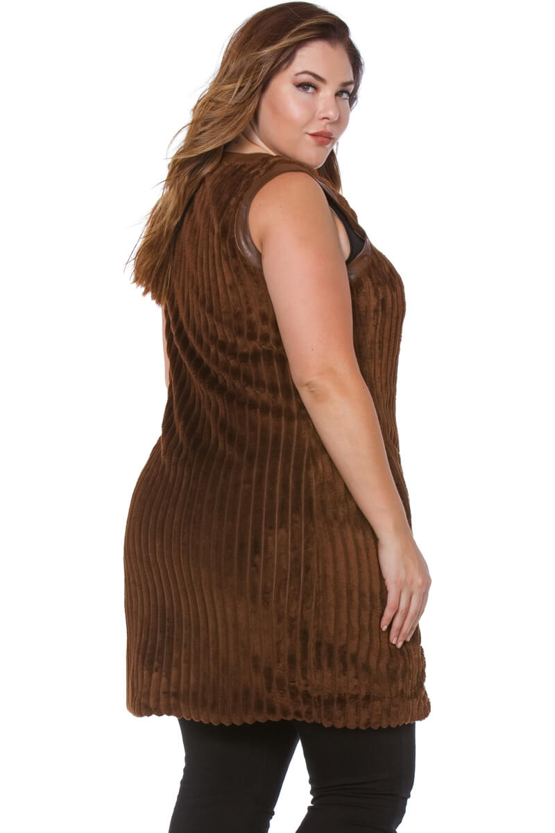 Thea Plus Size Sleeveless Faux Fur Coat for Women