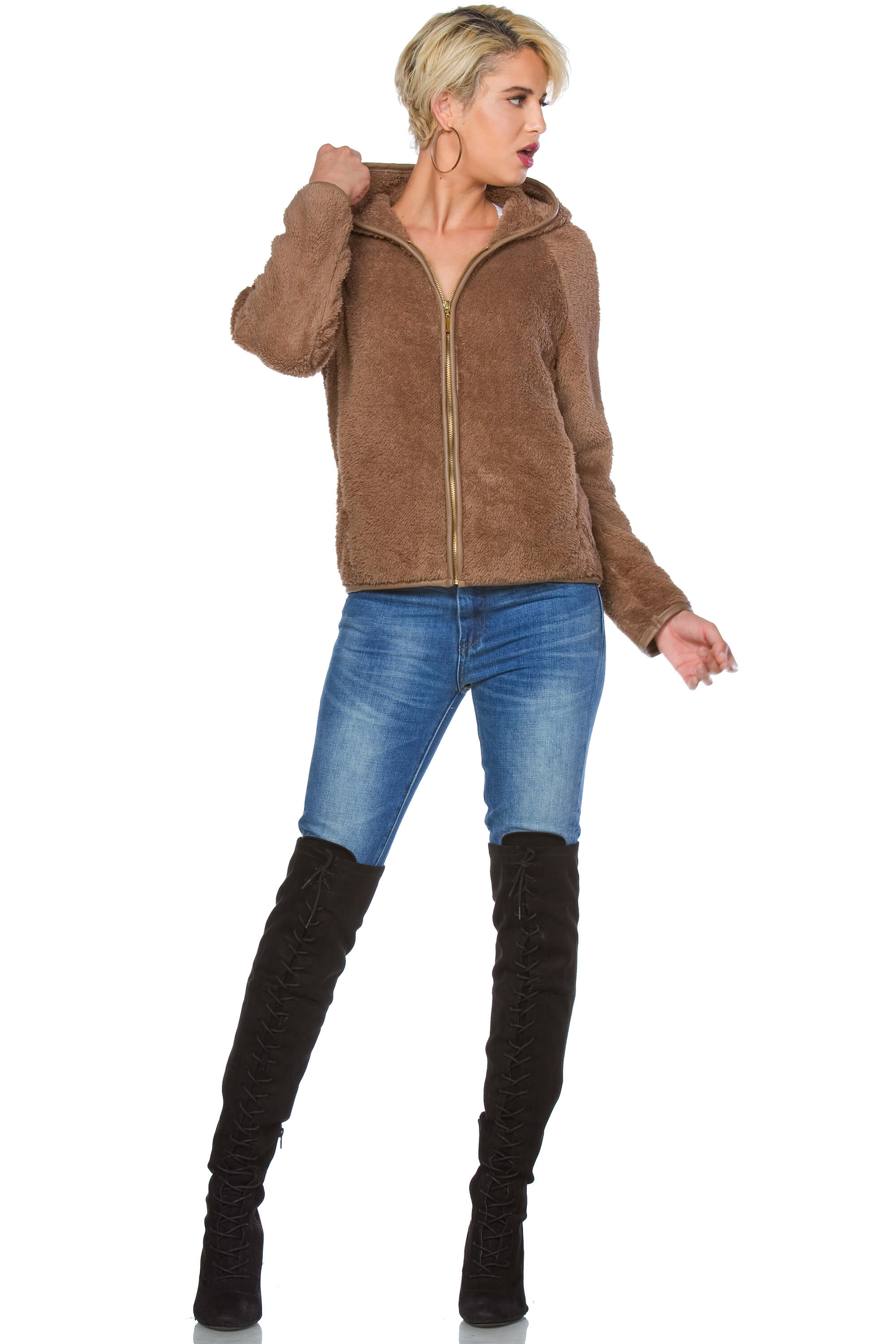 Claire Faux Fur Hoodie for Women