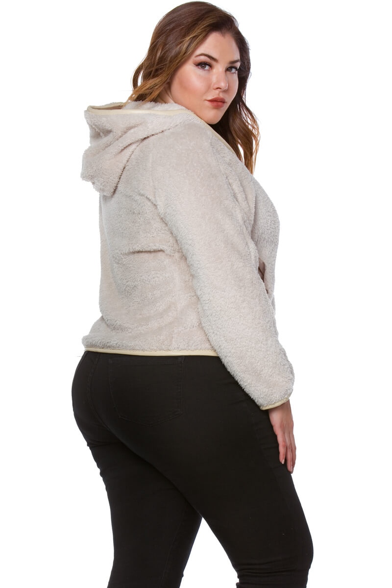 Claire Plus Size Faux Fur Hoodie for Women