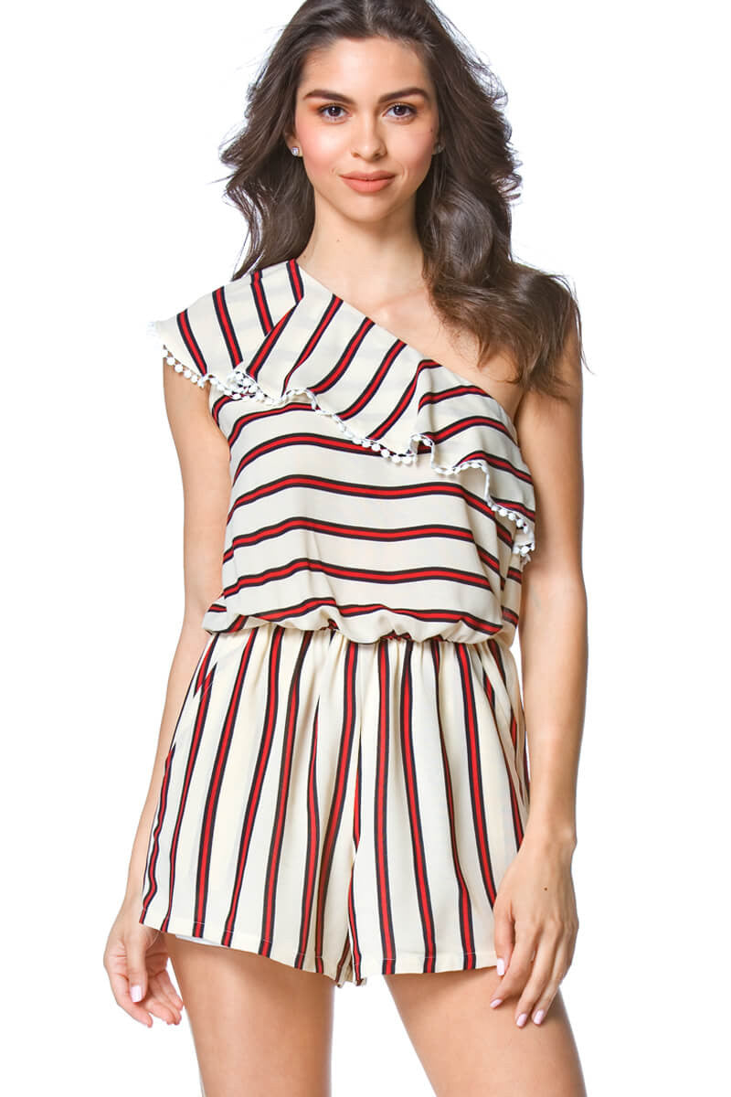 Vida One Shoulder Stripe Womens Romper