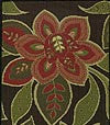 Strewn with deep-red flowers bordered by stylized leaves in shades of green and with cream highlights on a black-brown background.
