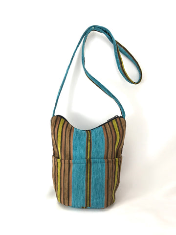 Bucket Purse in Turquoise and Wood Chenille