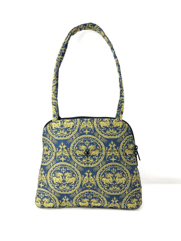 Evita Grande Bag in Blue and Gold Baroque Lion Medallion