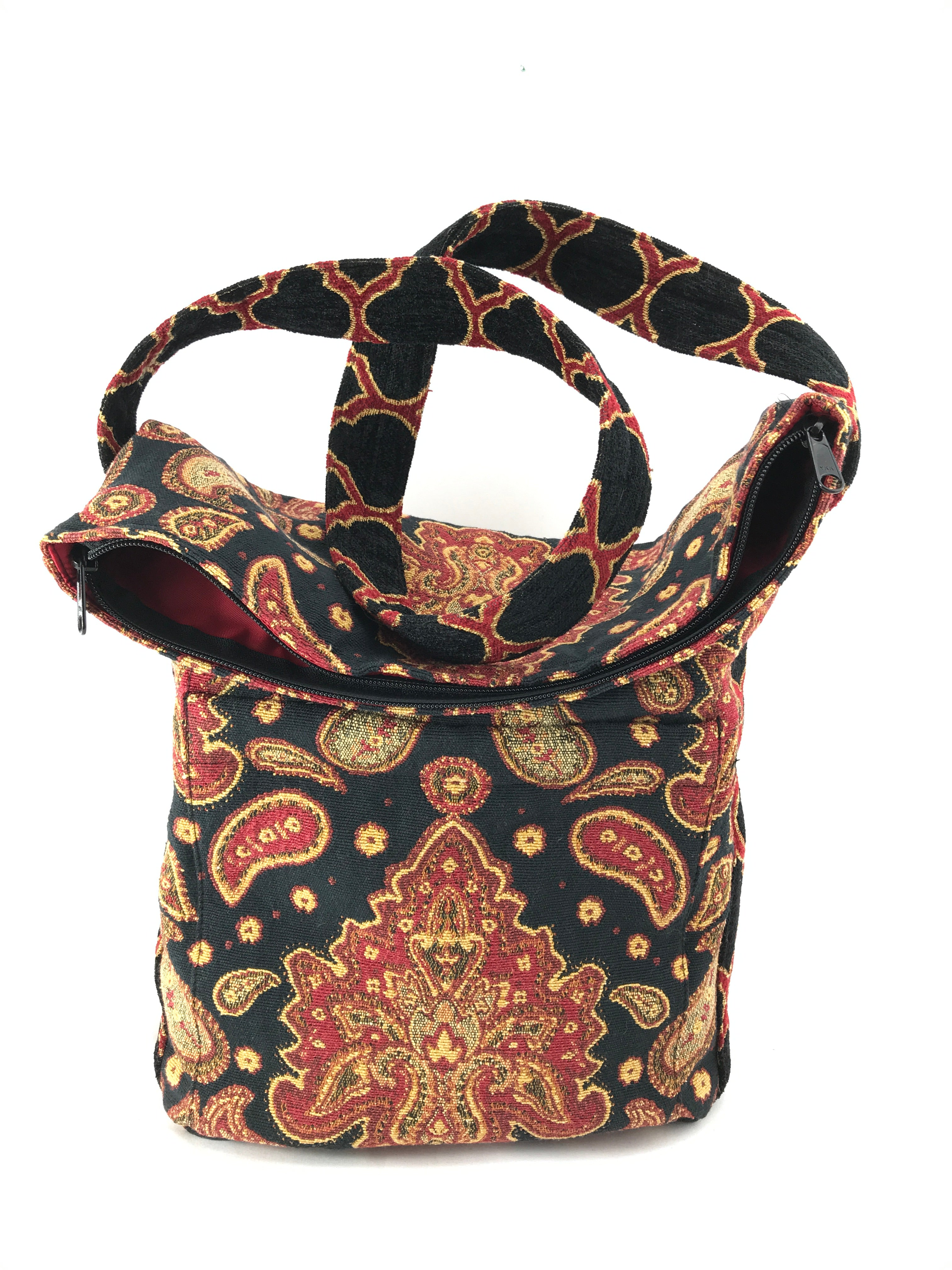 Sack Purse in Black and Red Medallion Tapestry