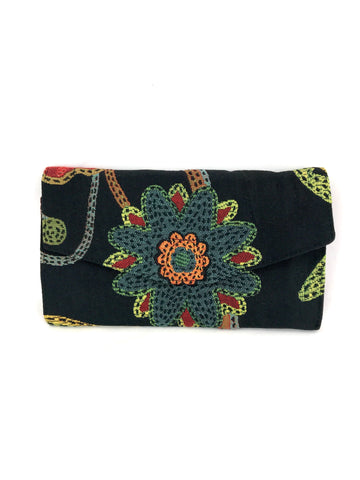 Clutch Wallet in Black Floral Tapestry
