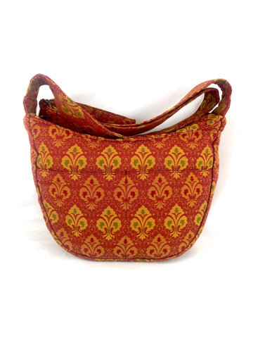 Hobo Bag in Red Fleur De Lys Tapestry