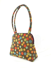 Evita Grande Bag in Brown and Polka Dot Tapestry