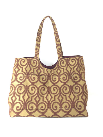 Magnum Tote in Bronze and Burgundy Scroll Jacquard