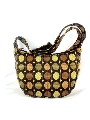 Hobo Bag in Brown, Gold, Green and Russet Polka Dot Tapestry