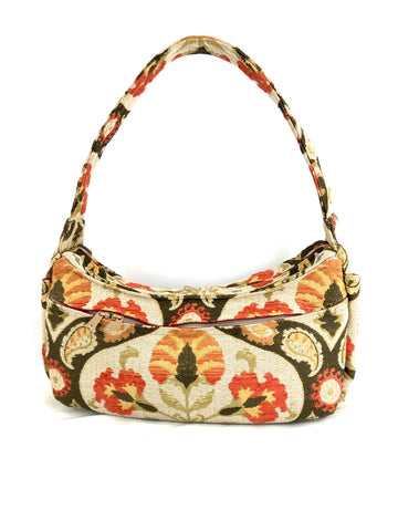 Boat Bag, Large, in Ivory and Coral Floral
