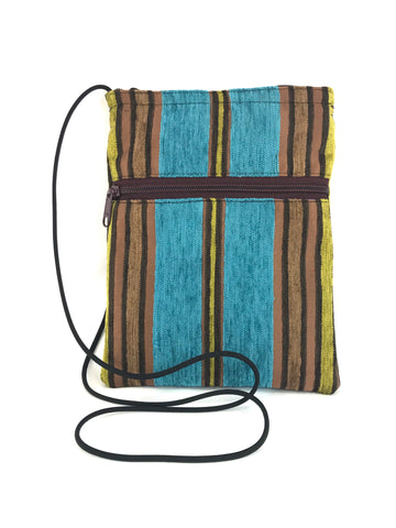 Patch Purse in Turquoise and Wood Chenille