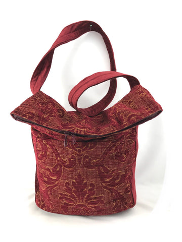 Sack Purse in Burgundy Figured Chenille and Burgundy Chenille