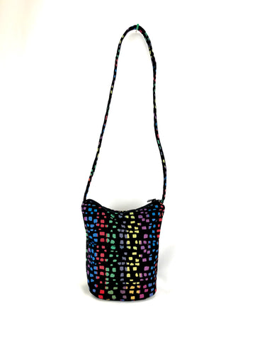 Bucket Purse in Rainbow Mosaic Chenille