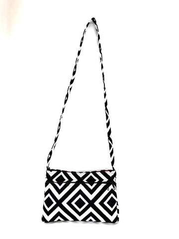 Frida Bag In Black and White Geometric Tapestry