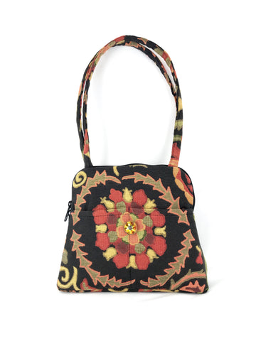 Evita Grande Bag in Black Floral Medallion Tapestry