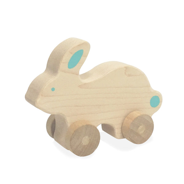 Natural Bunny Push Toy, Teal