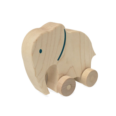 Natural Elephant Push Toy