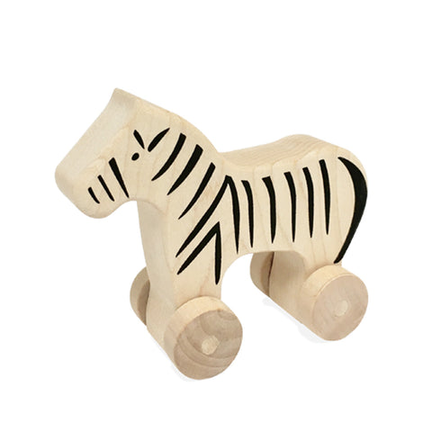 Natural Zebra Push Toy
