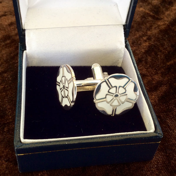Sterling Silver White Rose Cufflinks