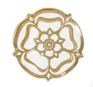 White Rose Pin, Gold and White