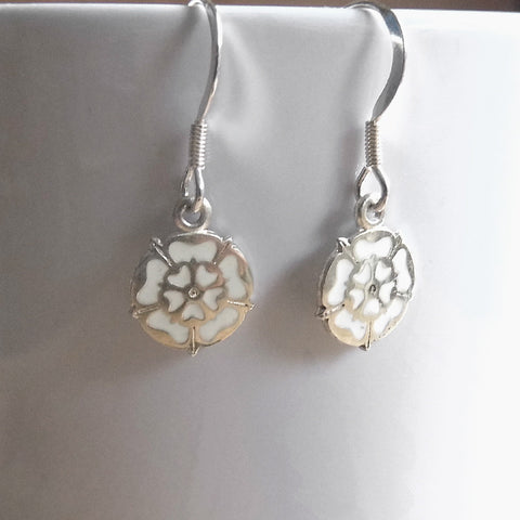 White rose hook earrings