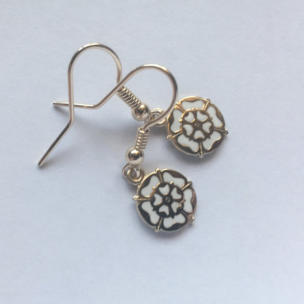 White Rose Drop Earrings 9ct Gold