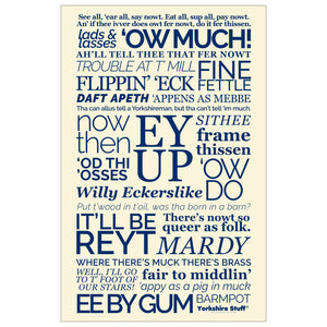 Yorkshire dialect tea towel, Ow Much, Now Then, Ey Up, It'll be Reyt